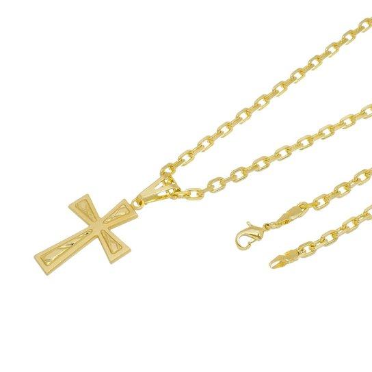613e836f77b Kit Pingente Cruz Frisada com Corrente Tudo Jóias Cartier Diamantada  Folheado a Ouro 18k - Dourado