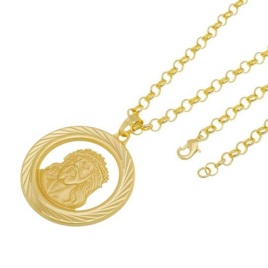 Kit Medalha Face de Cristo com Corrente Tudo Jóias Portuguesa Folheado a Ouro  18k - Dourado e691a1cd5c