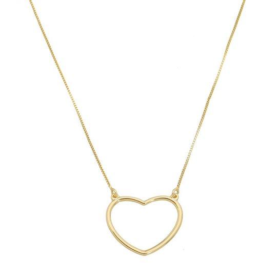 c95ea950d76ea Gargantilha Coração Com Corrente Veneziana Tudo Joias Folheado a Ouro 18k  Feminina - Dourado