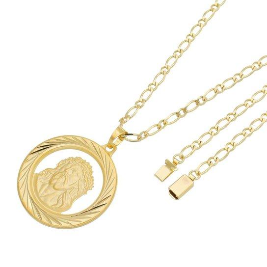 331bb0e20ce97 Pingente Face de Cristo Com Corrente Italiana Gaveta Tudo Joias Folheado a Ouro  18k - Dourado