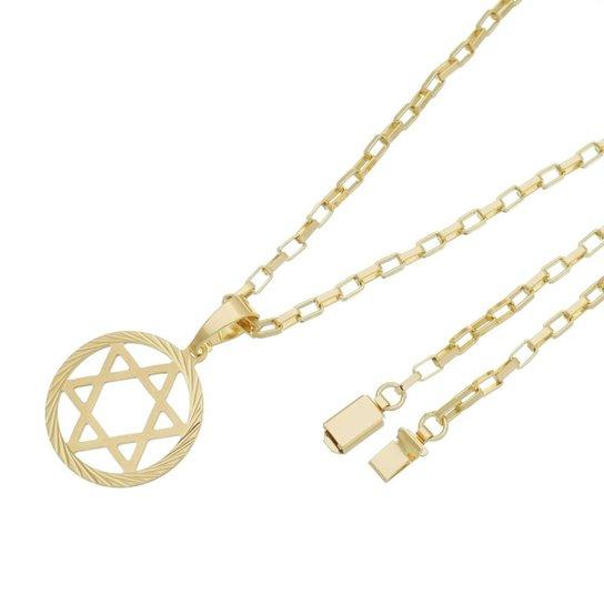 83c04f1486b Pingente Estrela de Davi Com Corrente Cartier Gaveta Tudo Joias Folheado a  Ouro 18k - Dourado
