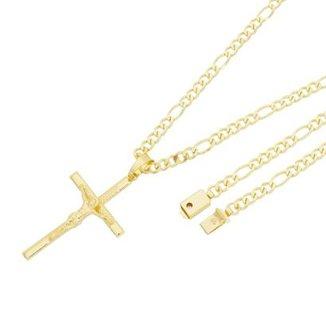 6a6e74191b3 Pingente Crucifixo Com Corrente Italiana Fígaro Gaveta Tudo Joias Folheado  a Ouro 18k