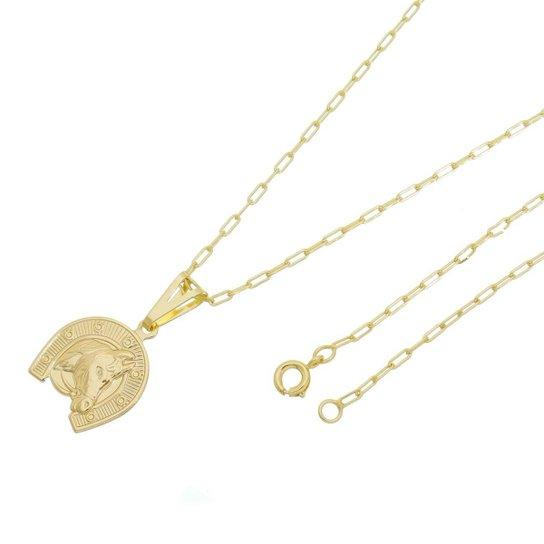 698991afa89 Pingente Cara de Cavalo Com Corrente Cartier Longa Tudo Joias Folheado a  Ouro 18k - Dourado