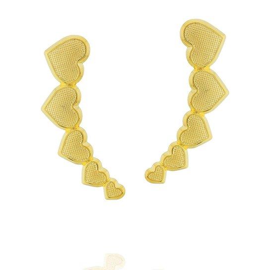 Brinco Dona Diva Semi Joias Ear Cuff Corações - Compre Agora   Zattini 2b62383c43