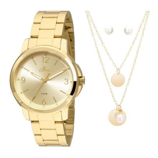 42431ca7907 Kit Relógio Allora Feminino Acetinados AL2035FDW K4X - Dourado  AL2035FDW K4X - Dourado