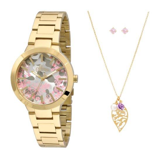 462c76a0e5d Kit Relógio Allora Feminino Camoflower AL2036CI K4T - Dourado AL2036CI K4T  - Dourado