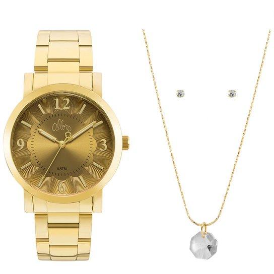69189a2213c Kit Relógio Allora Feminino Algodão Doce AL2035FNA K4D - AL2035FNA K4D -  Dourado