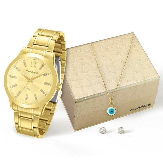 9a4a3f1b09f Kit Relógio Mondaine Feminino - 83328LPMKDE1K1 - Dourado - Compre ...