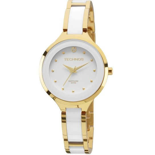 b2d6cc46321 Relógio Feminino Technos 2035LYW 4B Dourado Branco 36mm - Dourado ...