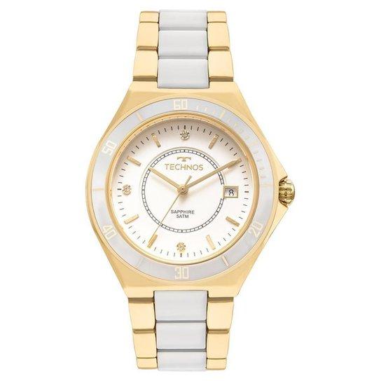 874b5164eaf37 Relógio Feminino Technos Ceramic 2115MMN 4B 37mm Pulseira Bicolor  Branca Dourada - Dourado