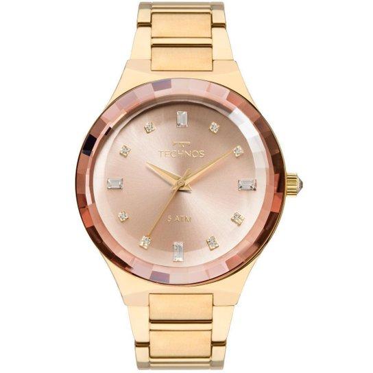 ec837ec086a Relógio Feminino Technos Elegance Crystal 2036MJK 4T Pulseira Aço Dourada -  Dourado