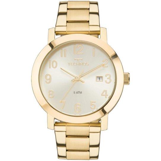 21725d53d28ea Relógio Feminino Technos Dress 2115MND 4X Pulseira Aço Dourada - Dourado