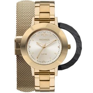 7866346c840 Relógio Feminino Technos 2035MLJ T4X Pulseira Aço Dourada