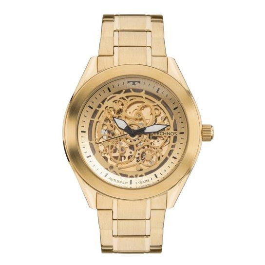 bcd23061bfc Relógio Masculino Technos Automático 8N24AH 4X Pulseira Aço Dourada -  Dourado