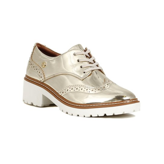 7d17661833 Sapato Oxford Feminino Metalizado Dourado - Dourado