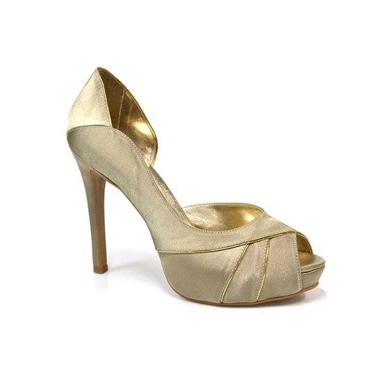 26b2a3bd3 Peep Toe Cetim Vernay Precious Feminino - Dourado