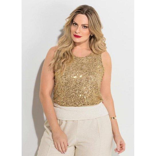 af6cddf404e7 Blusa Plus Size de Paetês Quintess Feminina - Dourado