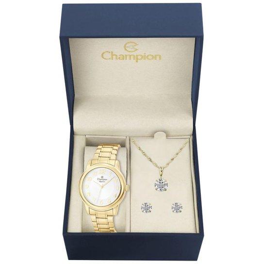 c6e2c854f8e Kit Relógio Champion Elegance Feminino CN26804W com Colar e Brincos -  Dourado