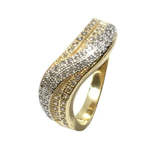 Anel De Onda Trancada Com Zirconias E Banho De Ouro 18k - Dourado ... 410706967d