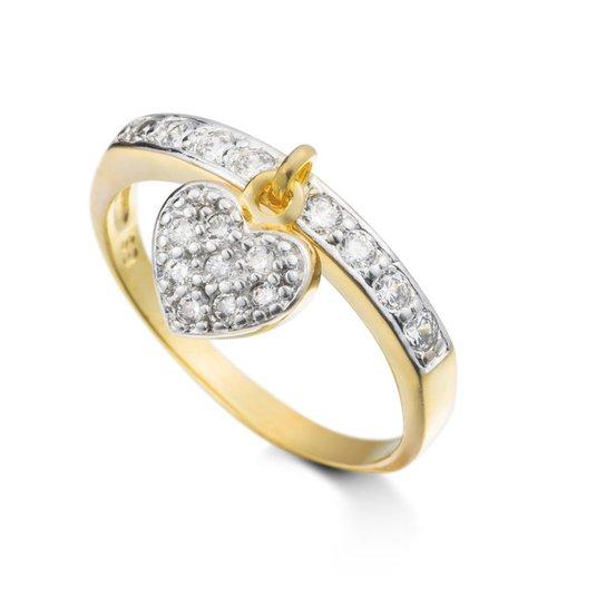 0c66c63b11a Anel Semi Joia Folheado Em Ouro Com Pingente De Coracao Cravejado Em Micro  Zirconias E Rodio