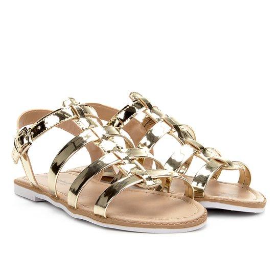 e4054d27d Sandália Infantil Menina Fashion Tiras Feminina - Dourado - Compre ...
