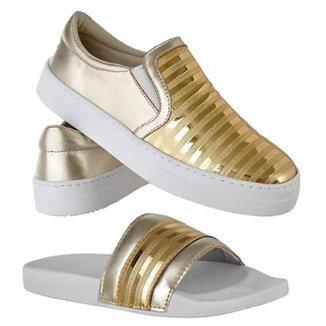 6dbe505b15 Kit Tênis Emanuelly Shoes Slip On + Chinelo Feminino