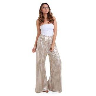 9146ac072e Calça Pantalona Plissada Dourada