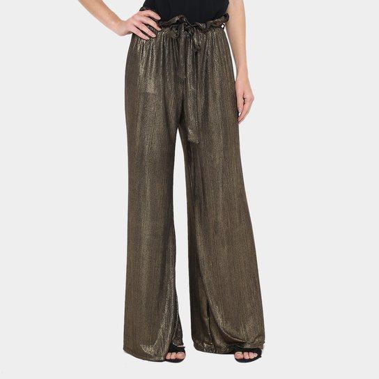 83cbe675a5 Calça Pantacourt Gup s Jeans Plissada Cintura Alta Feminina - Dourado