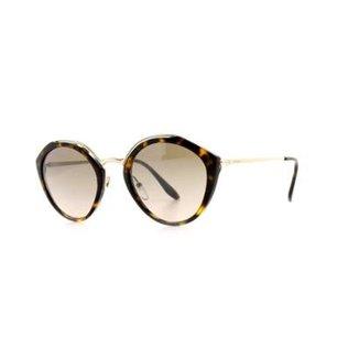 f25199729 Óculos de Sol Prada Redonda Preteção UV Dia a Dia Feminino