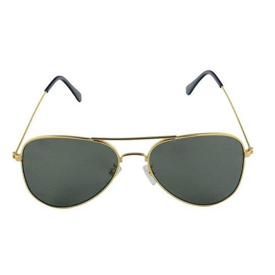 34d4a9ebf832b Óculos de Sol Khatto Aviador Militar Masculino - Dourado - Compre ...