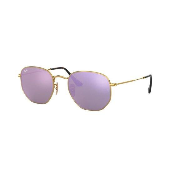 70cc0eeac1ed7 Óculos de Sol Ray-Ban RB3548NL Hexagonal - Dourado - Compre Agora ...