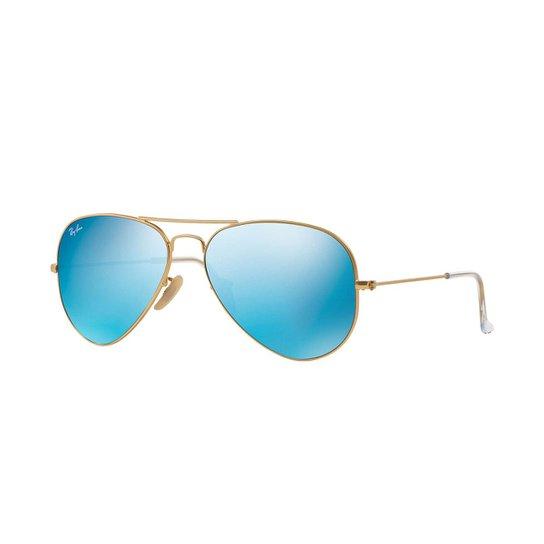 Óculos de Sol Ray-Ban Aviator Lentes Espelhadas - Dourado - Compre ... fab94557f7
