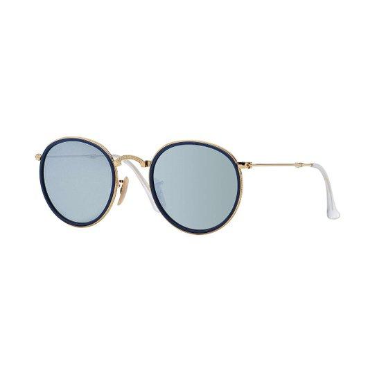 268088f0f476d Óculos de Sol Ray-Ban Round Dobrável - Dourado - Compre Agora