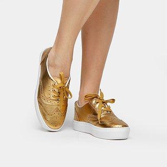 368e1e9dc1 Tênis Couro Shoestock Brogues Feminino