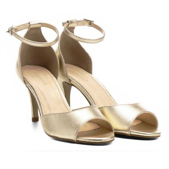 811aff7c80 Sandália Couro Shoestock Salto Fino Naked Tornozeleira Feminina - Dourado