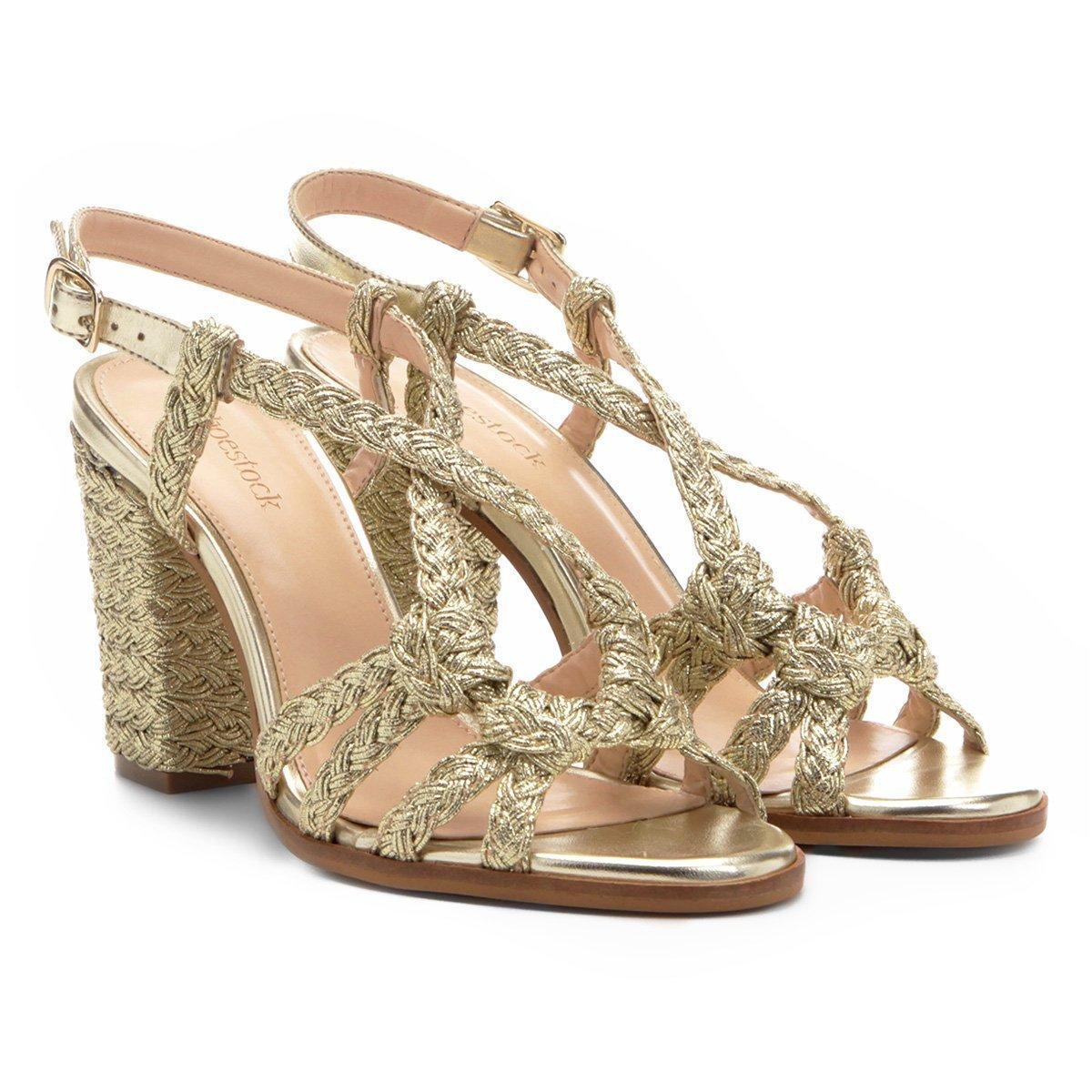c5c838694d Sandália Shoestock Salto Grosso Trançado Corda Feminina