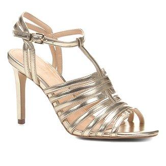 2120ce8fc29 Sandália Couro Shoestock Salto Fino Tirinhas Feminina