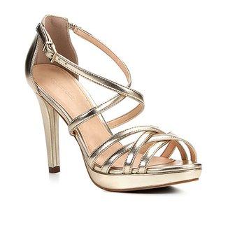 36fba787b Sandália Shoestock Salto Fino Recortes Feminina