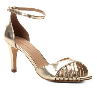a0e80cb274 Sandália Shoestock Metalizada Salto Fino Feminina