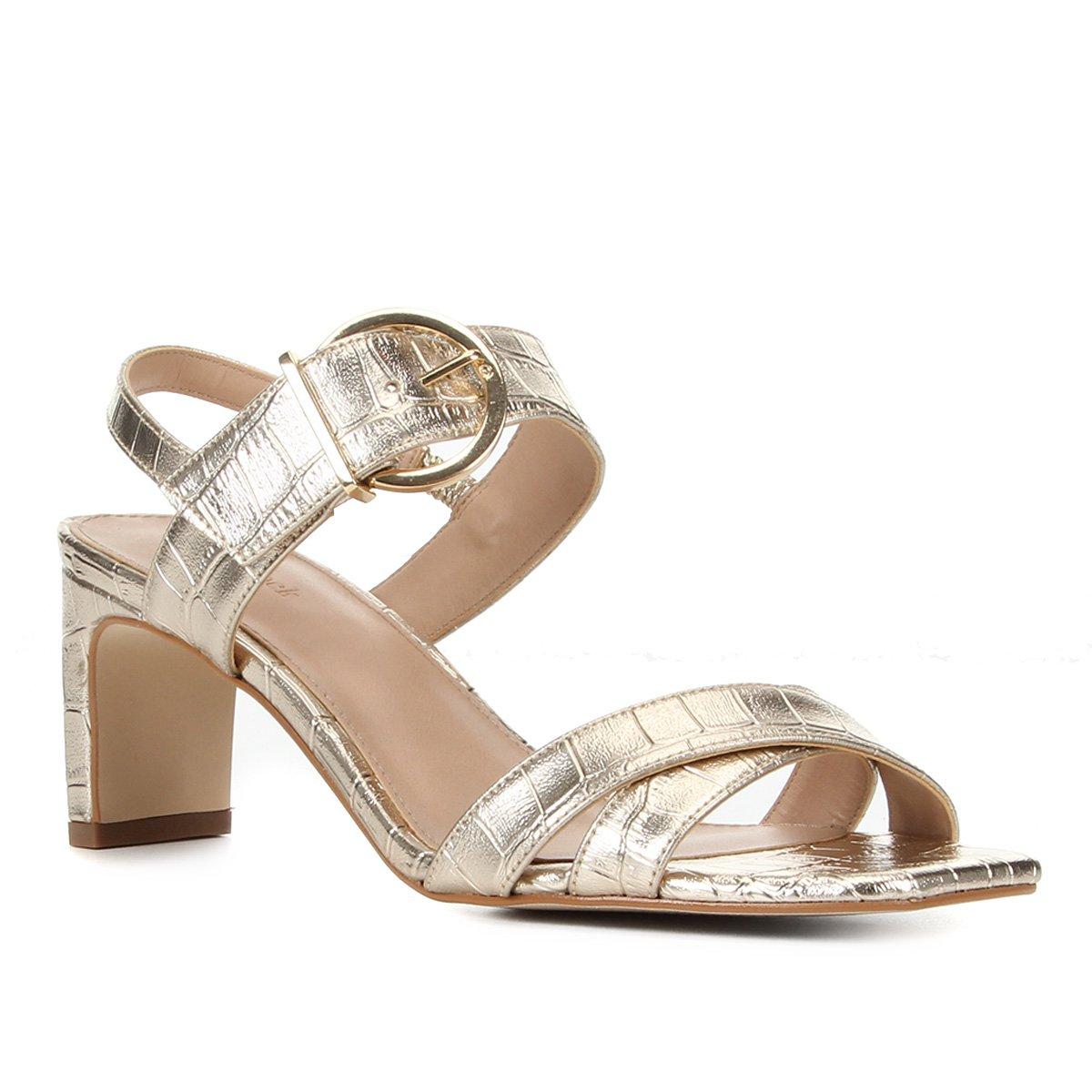 Sandália Shoestock Croco Metalizada Fivela Feminina