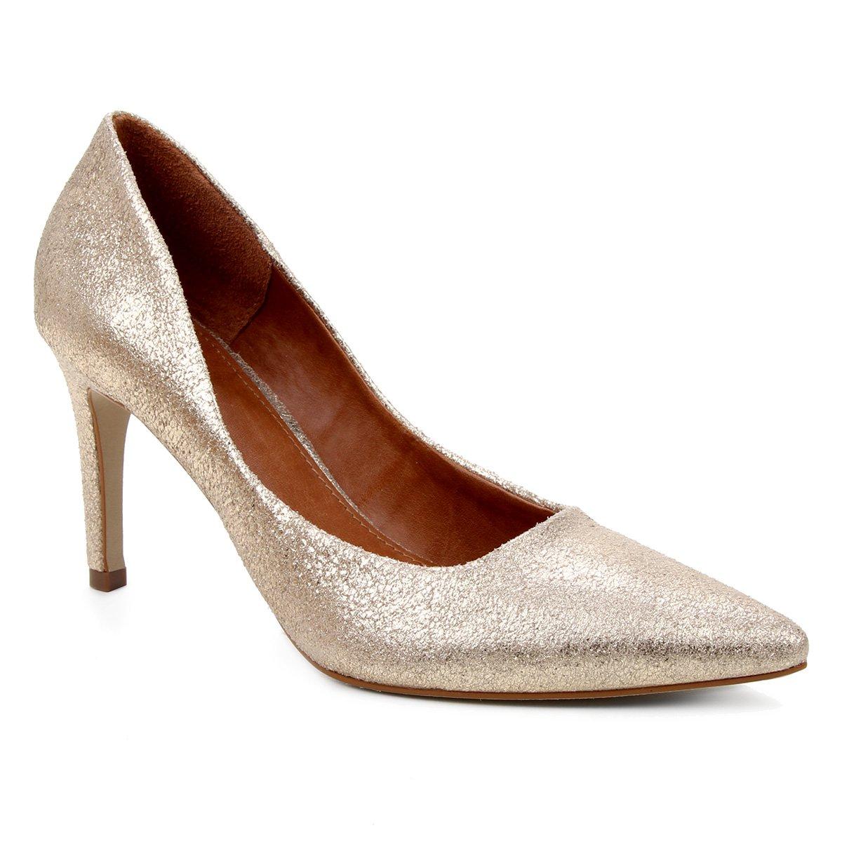 Scarpin Couro Shoestock Salto Alto Mestiço Graciela