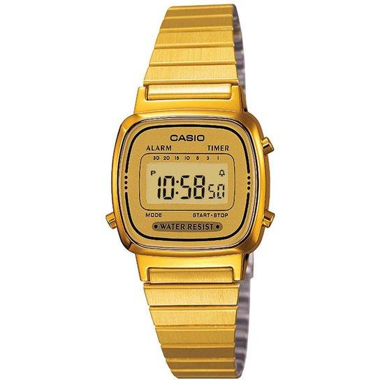 e74c71d3306 Relógio Casio Vintage LA670W Feminino - Dourado - Compre Agora