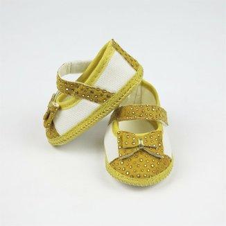 76a365249 Sapato Bebê Feminino Amarelo com Dourado-P