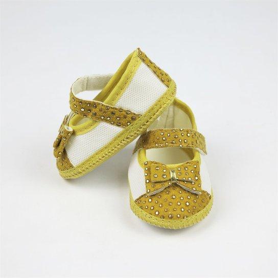 519f86d72c Sapato Bebê Feminino Amarelo com Dourado-P - Dourado
