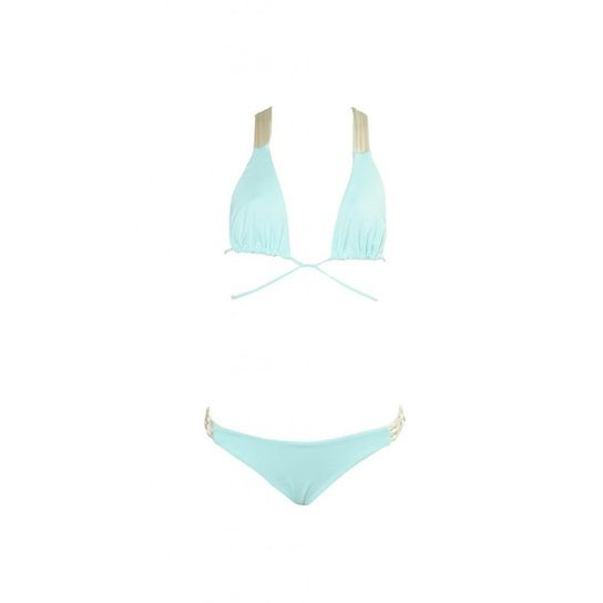 Biquíni Macramê Arraial - Verde Claro e Branco - Compre Agora   Zattini d70d68a1f6