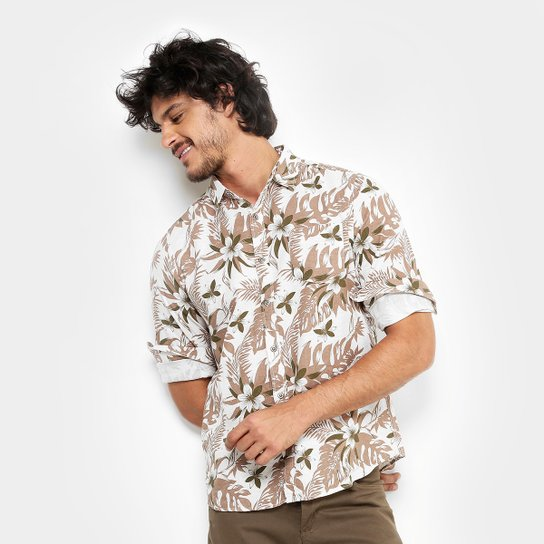 4c6babb7d7 Camisa Pacific Blue Floral Hawaii Masculina - Areia