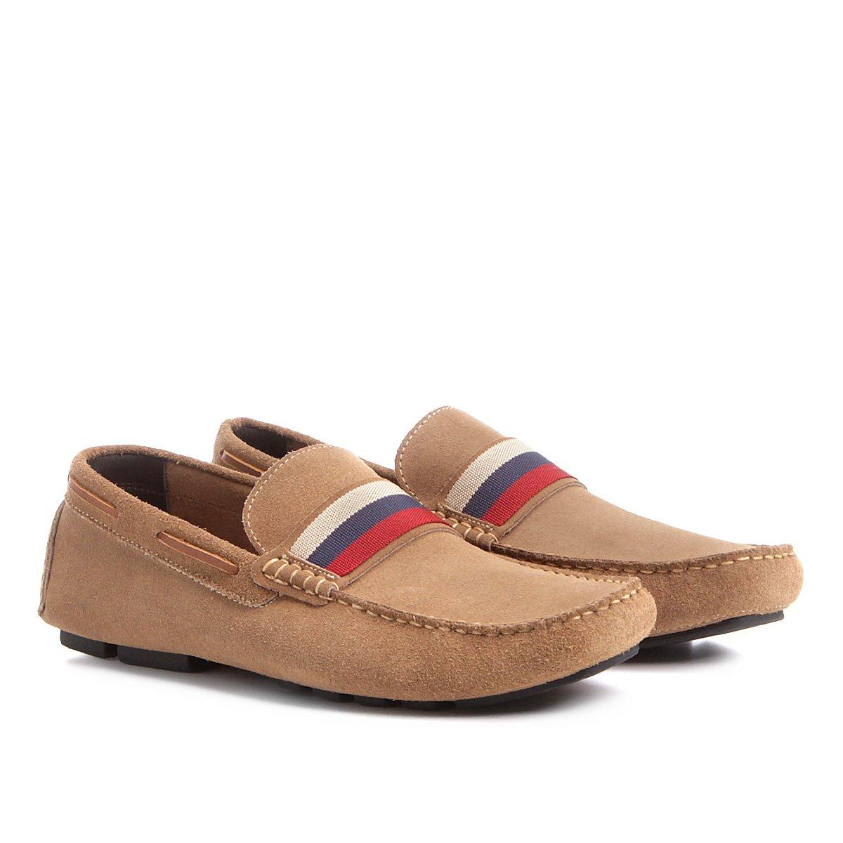 8a1ddbffc0 Mocassim Couro Shoestock Gorgurão Tricolor Masculino