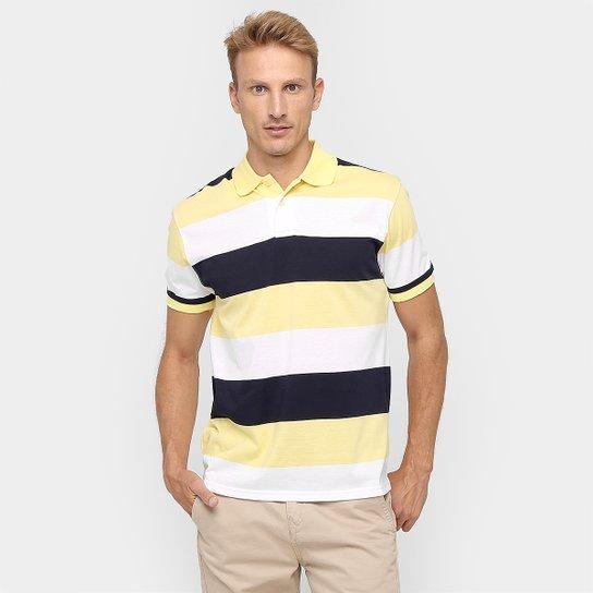 adcd67c27a Camisa Polo Blue Bay Listras - Amarelo+Marinho
