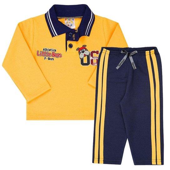 d7ffeab927 Conjunto Bebê Blusa com Gola Pólo e Calça Em Moletom Masculino - Amarelo+ Marinho