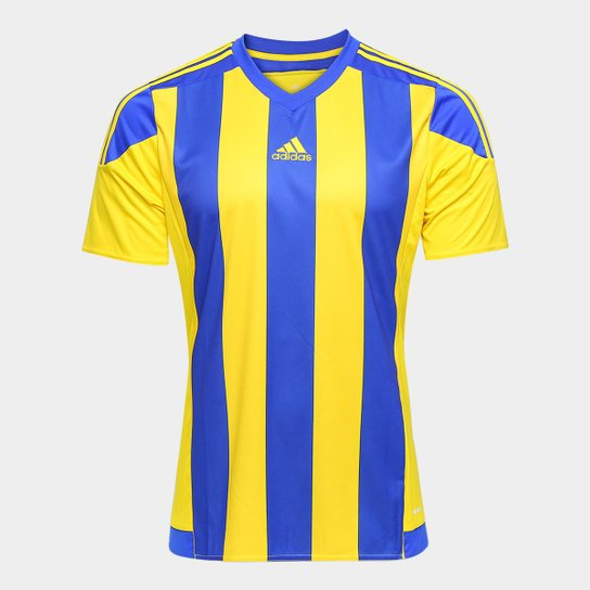3b02351bb40 Camisa Adidas Striped 15 Masculina - Amarelo e Azul - Compre Agora ...